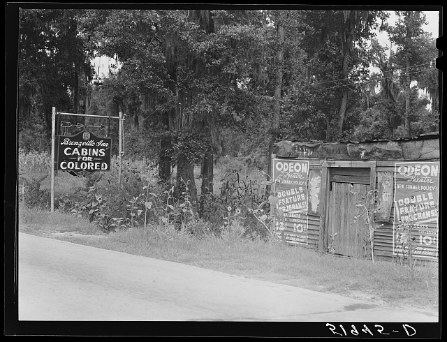 Tourist cabins for Negroes. Highway sign. South Carolina