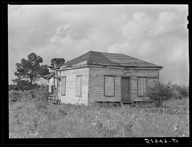 Rented shack of John Houston, FSA (Farm Security Administration) client. Broomfield section of Ladys Island, Beaufort, South Carolina