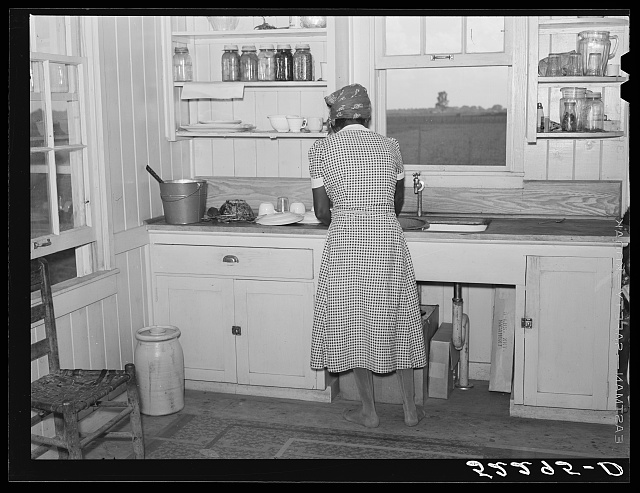 Cube Walker's wife, Negro tenant purchase client, in the kitchen of her new house. Mississippi Delta, Mississippi, Belzoni
