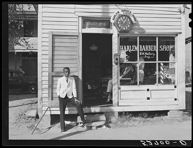 Barber shop on [Hillsboro] street. Oxford, Granville County, North Carolina