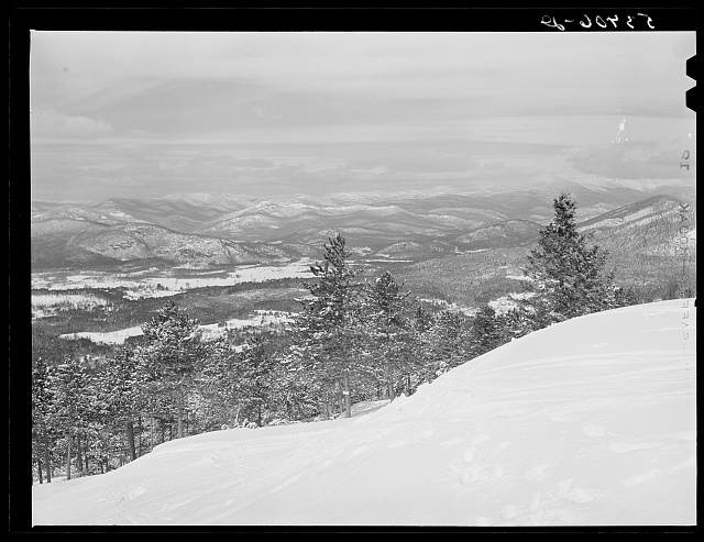 The Presidents Range of White Mountains, seen from top of Cranmore Mountain. New Hampshire