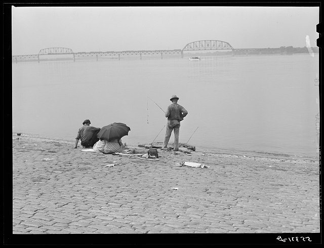 Fishing on Ohio riverfront in Louisville, Kentucky