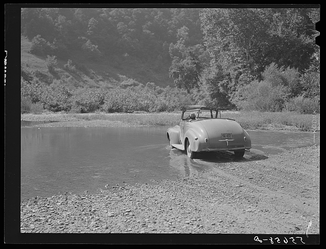 Car fording creek up Morris Fork of the Kentucky River. Kentucky