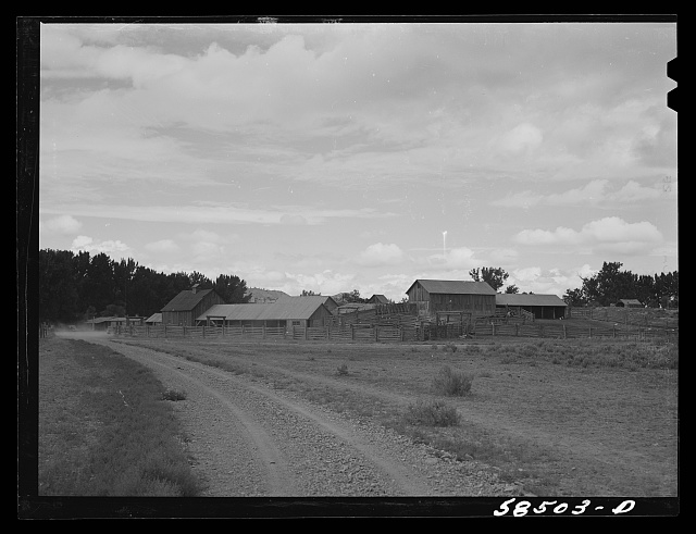 Ranch building and corral. Quarter Circle U, Brewster-Arnold Ranch Company  Birney, Montana