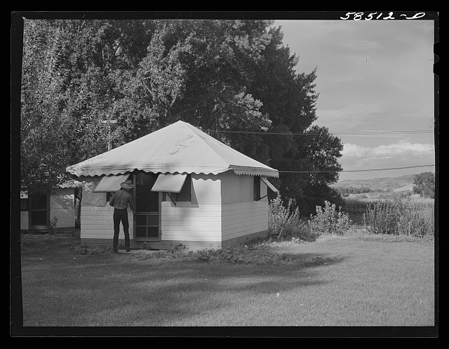 One of the guest houses at Quarter Circle U, Brewster-Arnold Ranch Company. Birney, Montana