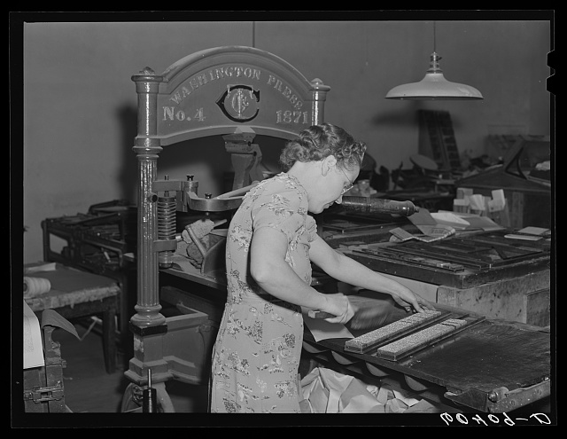 Dusting off column of type. Office of the Valley News. Browns Valley, Minnesota