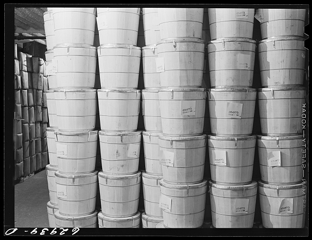 Butter at Fulton Market cold storage plant. Chicago, Illinois