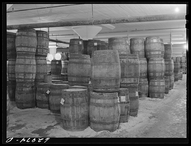 Tierces of pickled hams in storage at Fulton Market cold storage plant. Chicago, Illinois