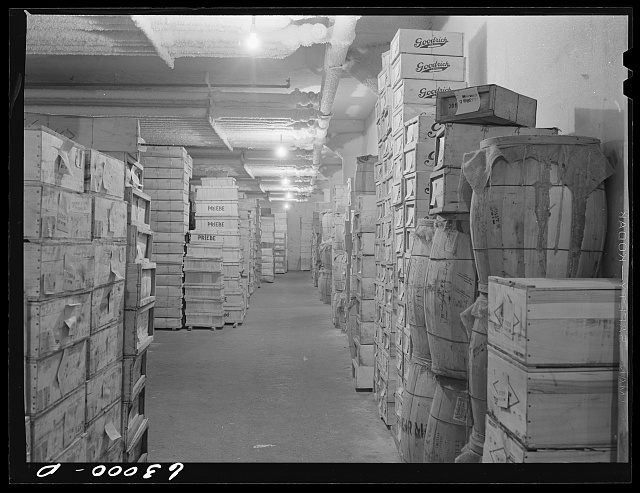 Boxed poultry in storage at twenty-four degrees below zero. Fulton Market cold storage plant, Chicago, Illinois