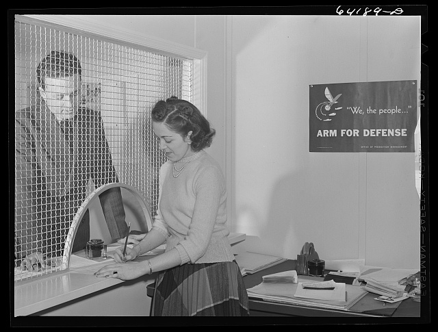 Defense worker applying for room in FSA (Farm Security Administration) dormitory near Aberdeen proving grounds. Aberdeen, Maryland