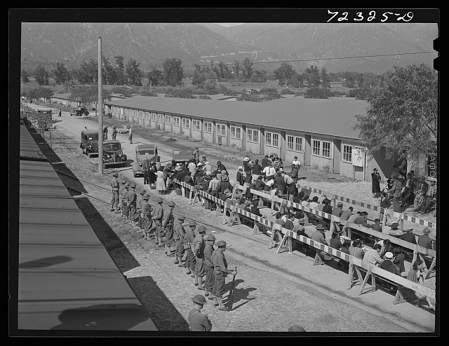 Los Angeles County, California. The evacuation of Japanese and Japanese-Americans from West coast areas under United States Army war emergency order. Japanese waiting for registration at the Santa Anita reception center
