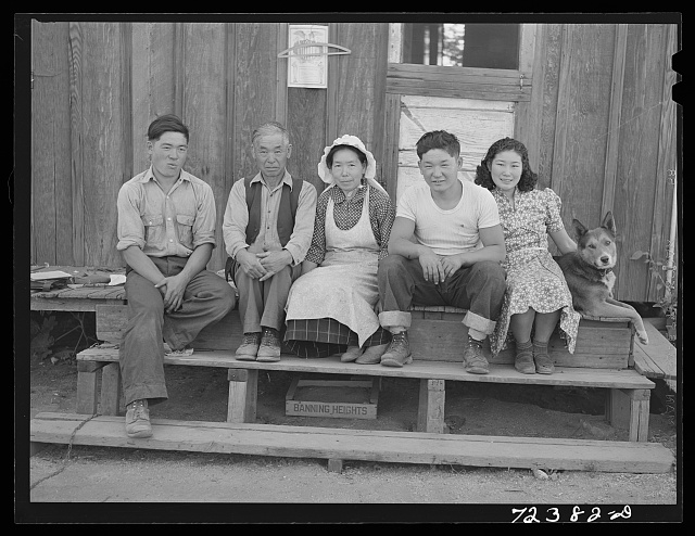 Santa Anita reception center, Los Angeles County, California. The evacuation of Japanese-Americans from West coast areas under United States Army war emergency order. A Japanese farm family who are subject to evacuation orders