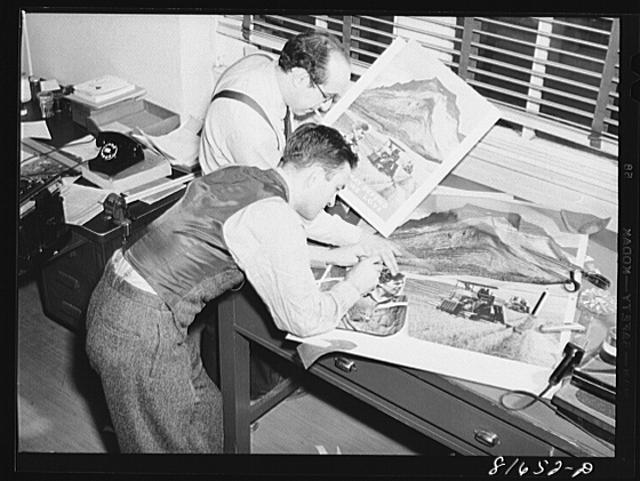 Washington, D.C. Preparing the defense bond sales photomural, to be installed in the Grand Central terminal, New York, in the visual unit of the FSA (Farm Security Administration). Edwin Rosskam and Milton Tinsley making the scale paste-up from the original dummy
