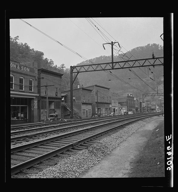 Main street and stores of mining town. Davey, West Virginia