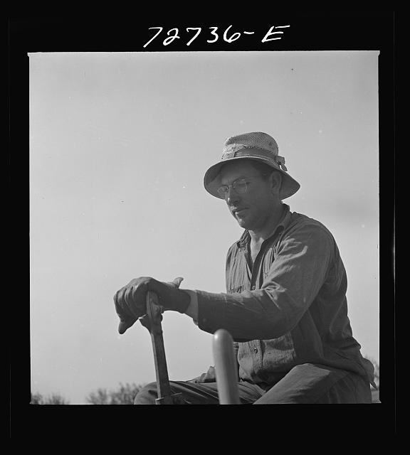 Merced County, California. Farmer operating peanut planter. He is first man in California to plant peanuts, which are now needed for oil