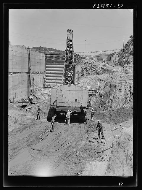 Shasta Dam, Shasta County, California. Moving a steam shovel