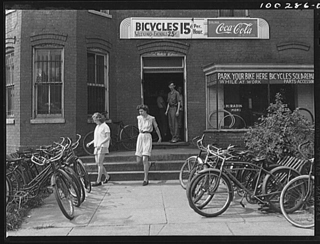 Washington, D.C. A bicycle rental shop on 22nd Street, near Virginia Avenue N.W., on Sunday