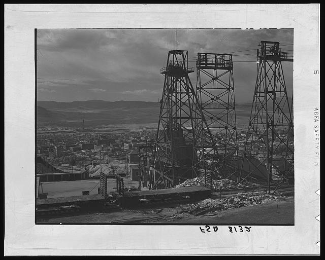 Butte, Montana. Anaconda Copper Mining Company. The town is dominated by headframes of various copper mines