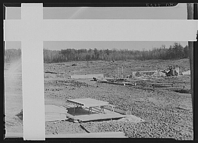 Dam construction at lake site. Berwyn, Maryland