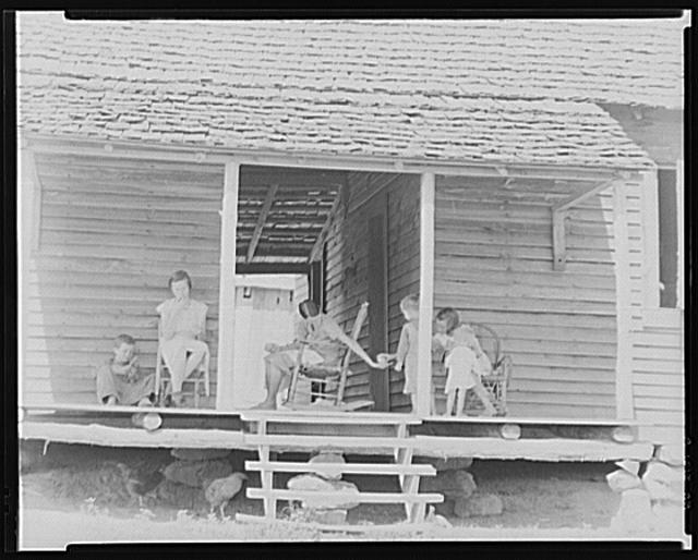 Front porch of the Burroughs' home. Hale County, Alabama