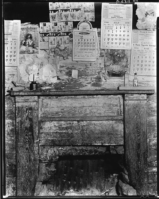 Fireplace in Frank Tengle's home. Hale County, Alabama