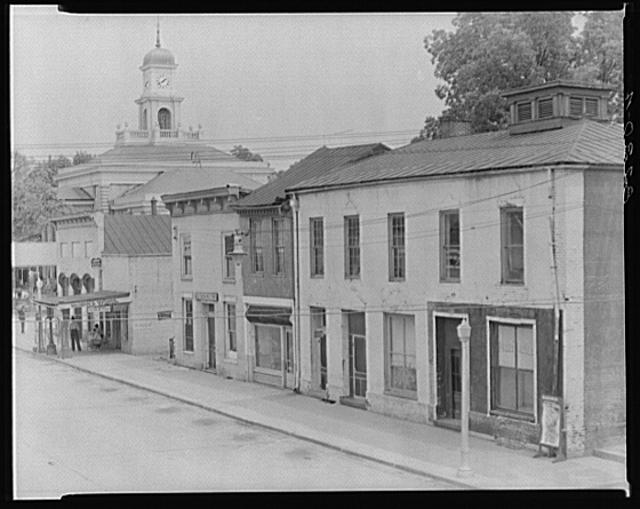 Greensboro, Alabama. Main street buildings and county courthouse cupola