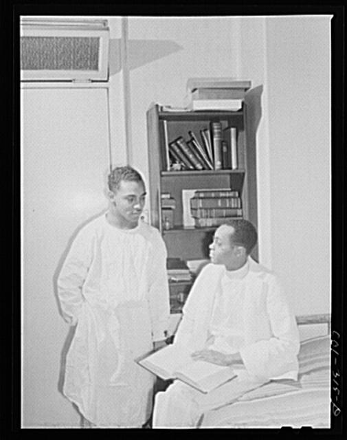 Chicago, Illinois. Provident Hospital. Dr. S.J. Jackson, left and Dr. E.V. Williams, interns. Dr. Jackson was born in Texas and studied at Meharry Medical College in Nashville, Tenn. Dr. Williams comes from Kansas and was a Phi Beta Kappa at Kansas University