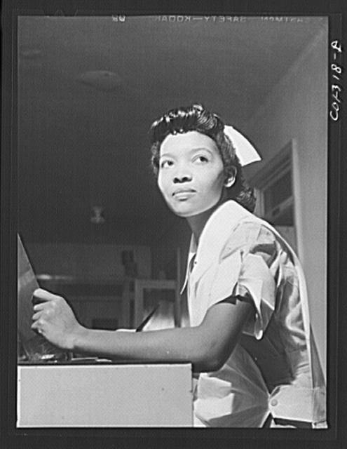 Chicago, Illinois. Provident Hospital. Miss Lydia Monroe of Ringold, Louisiana, a student nurse. Her father is a machinist at the Youngstown Sheet and Tube Company