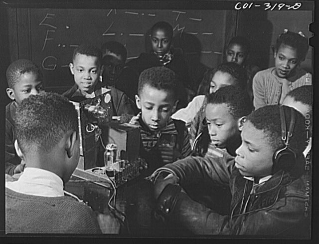 Chicago, Illinois. A class in radio for youngsters at Ida B. Wells Housing Project