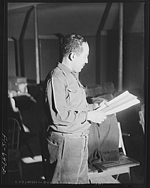 Chicago, Illinois. Good Sheperd Community Center. Mr. Langston Hughes at a rehearsal at of his new play