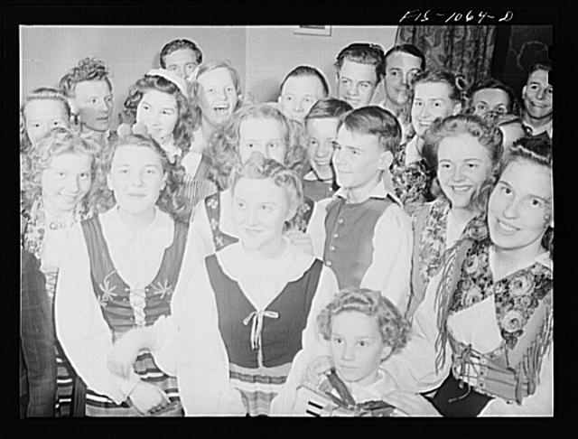 Young Swedish people in costume at a dance in a small Minnesota town