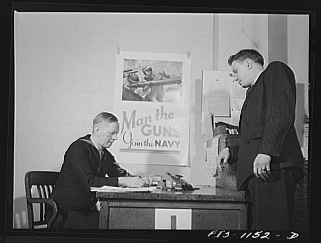 Swedish-American selectee being inducted into the U.S. Navy in Minnesota