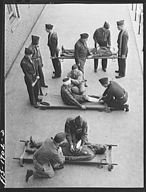 A class in first aid at the U.S. Army chaplain school. Fort Benjamin Harrison, Indiana