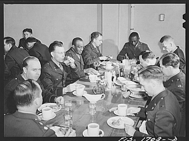 At the mess table in the U.S. Army chaplain school. Fort Benjamin Harrison, Indiana