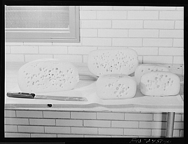 Edam cheeses made at Iowa State College in storage in the Dairy Industry Department at Iowa State College. Ames, Iowa