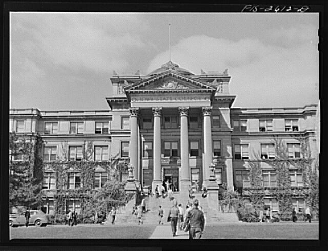 On the campus at Iowa State College. Ames, Iowa; image from the Library of Congress Prints and Photographs Division