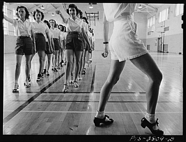 Tap dancing class in the gymnasium at Iowa State College. Ames, Iowa