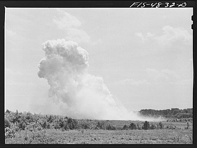 Edgewood Arsenal, Maryland. Gas demonstration. Exploding aerial bomb just dropped by a plane