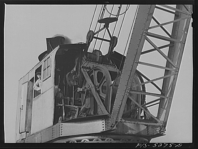Decatur, Alabama. Ingalls Shipbuilding Company. Crane operator in the yard