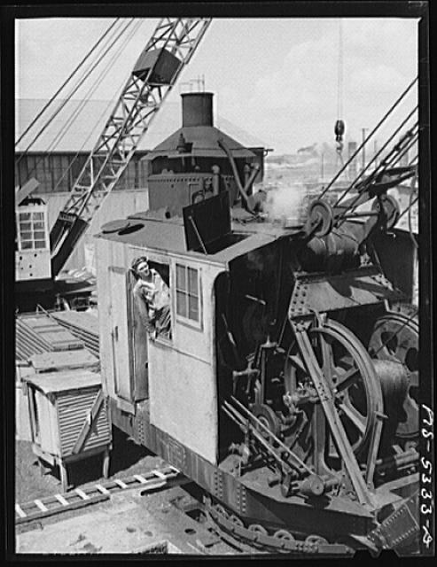Decatur, Alabama. Ingalls Shipbuilding Company. A crane operator