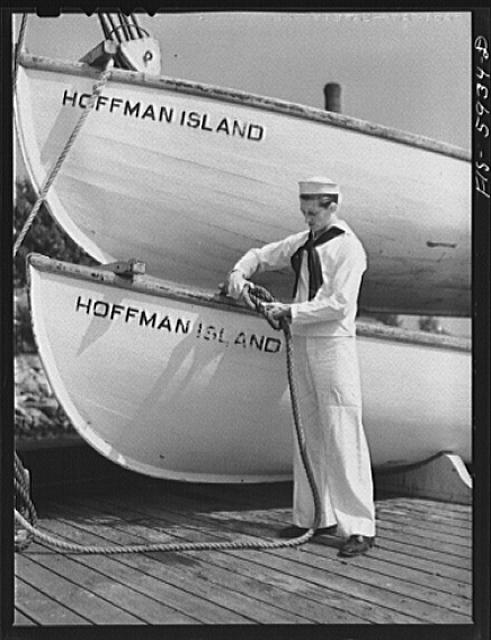 Hoffman Island, merchant marine training center off Staten Island, New York. Boy from Minneapolis training for a job in the merchant marine