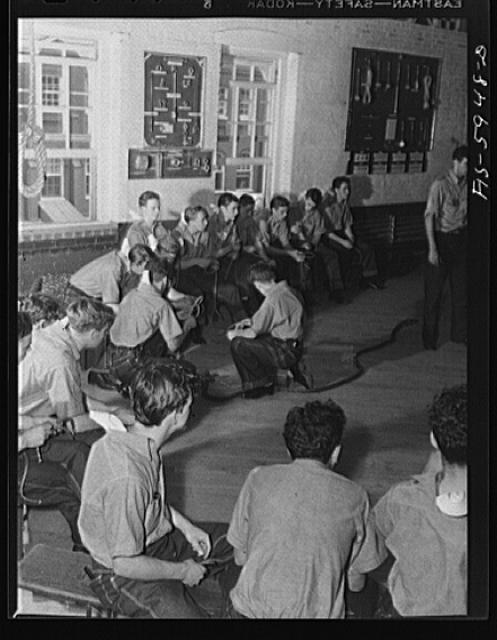 Hoffman Island, merchant marine training center off Staten Island, New York. Knot tying class