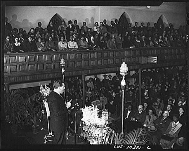 Washington, D.C. Clayton Powell addressing the citizens' committee mass meeting
