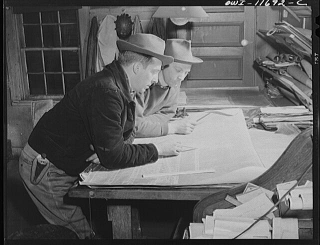 Pittsburgh, Pennsylvania (vicinity). Montour no. 4 mine of the Pittsburgh Coal Company. Mine engineers checking on their surveys after a day's work