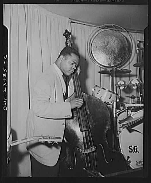 New York, New York. Bass fiddle player of Duke Ellington's orchestra at the Hurricane Ballroom