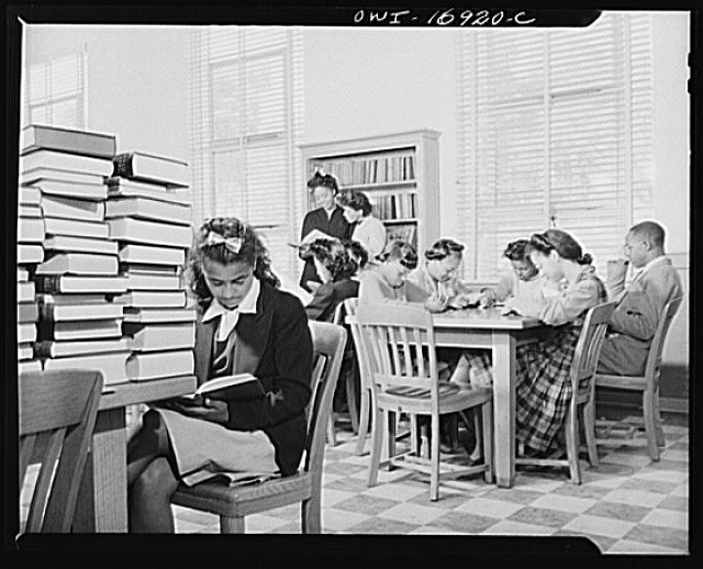 Daytona Beach, Florida. Students in the Rhodes Memorial Library