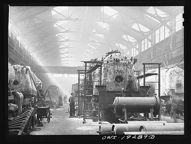 Topeka, Kansas. General view of part of the Atchison, Topeka and Santa Fe Railroad locomotive shops
