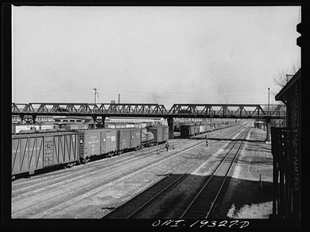 General view of part of an Atchison, Topeka and Santa Fe Railroad yard