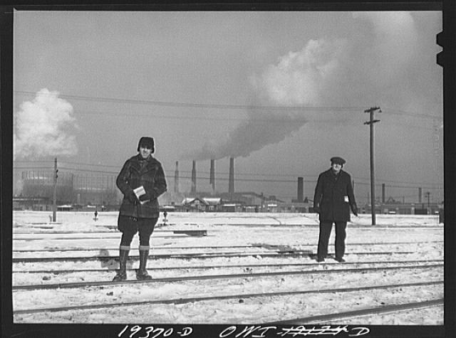 Chicago, Illinois. Workmen in a railway yard