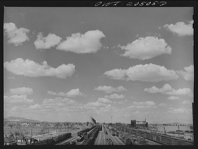 General view of an Atchison, Topeka and Santa Fe Railroad yard